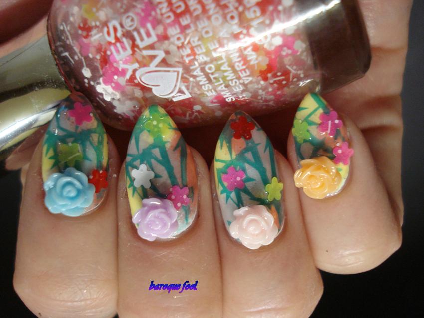 Baroque fool bps spring inspired nail art competition for the base of this mani i used sinful colors cinderella china glaze lemon fizz catrice lovender and bricky mouse as base the stamps are made with bp 18 prinsesfo Images