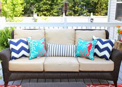 porch sofa with pillows