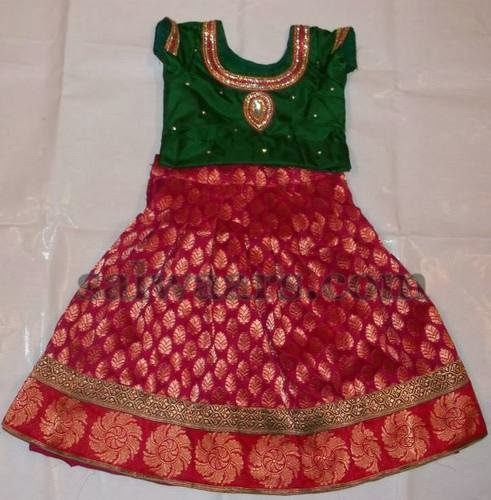 Brocade Kids Skirt in Red
