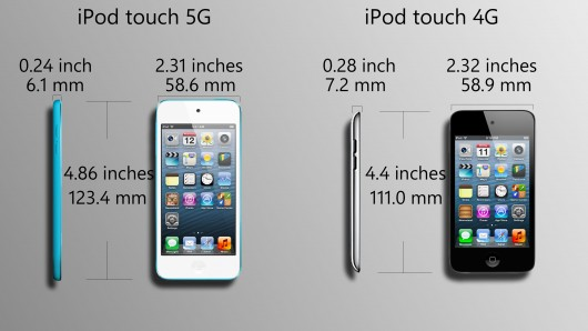iPod Touch 5G vs 4G Size and Dimensions