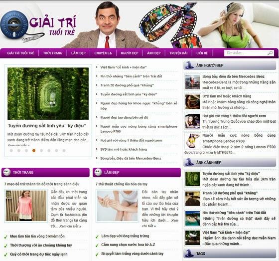 thiết kế web giải trí đẹp