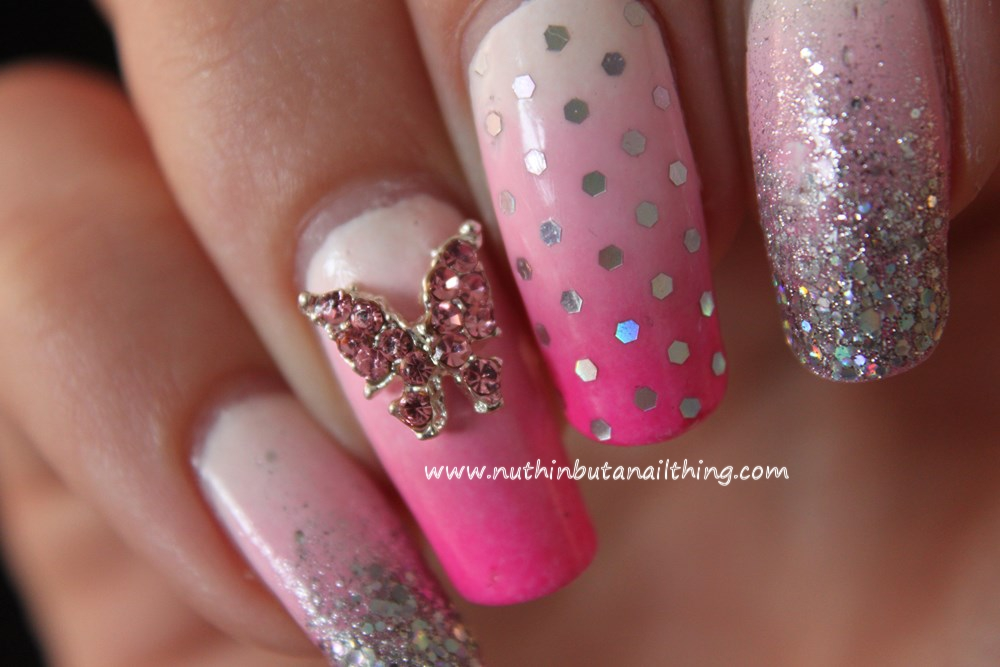 3D Butterfly Bling Nails