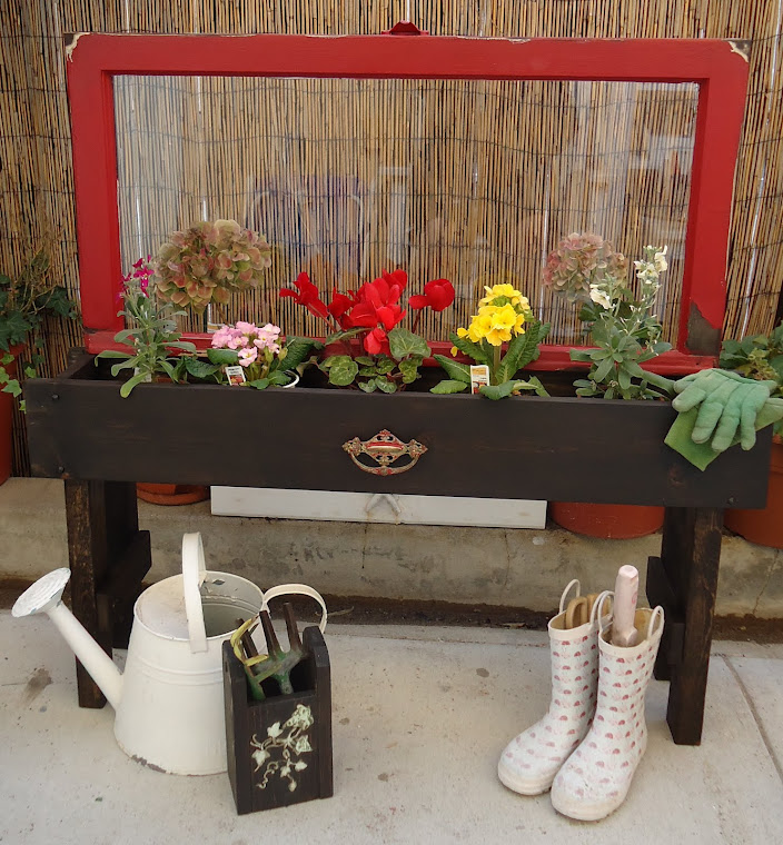1940s Window Planter Box-Red/Stain with Vintage Hardware-SOLD