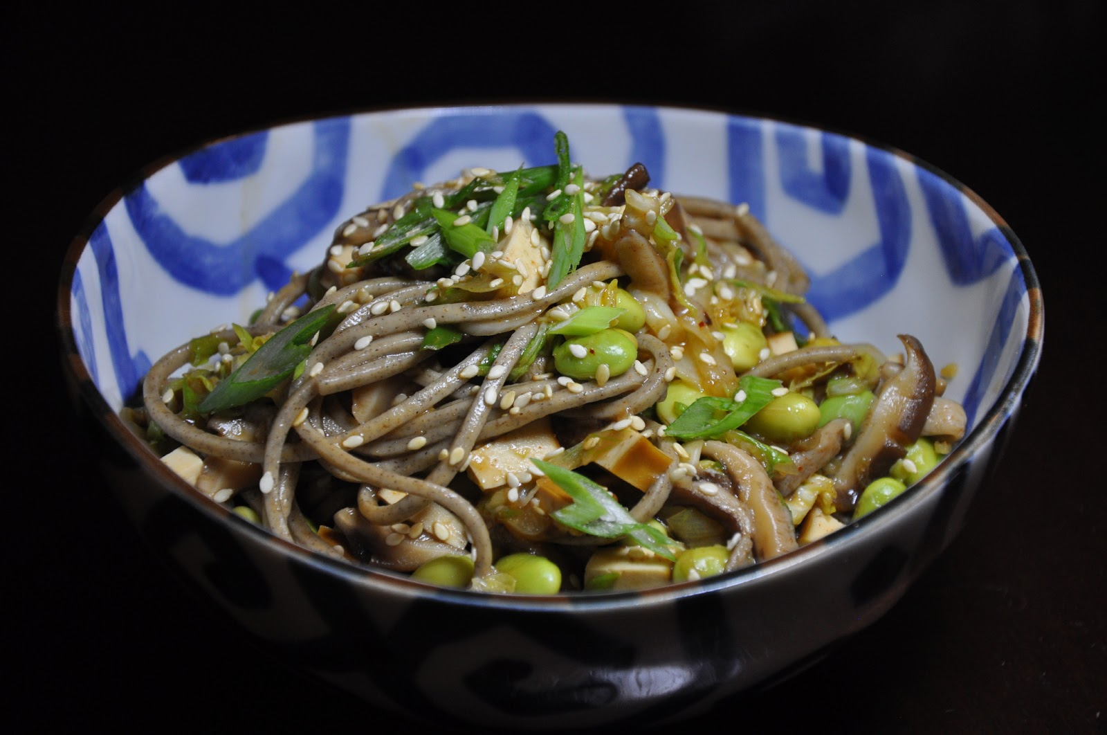 Spicy Soba Noodles with Smoked Tofu, Shiitakes and Cabbage