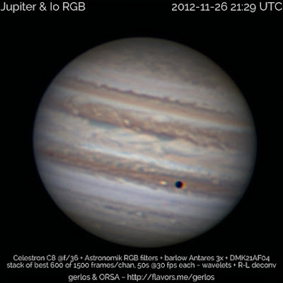 foto real del planeta júpiter tomada por un telescopio