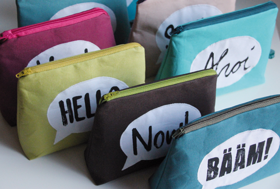 binedoro Blog, Aus dem Nähzimmer, Täschchen, Kosmetiktäschchen, Sprechblase, Stoffdruck, drucken, Stempel
