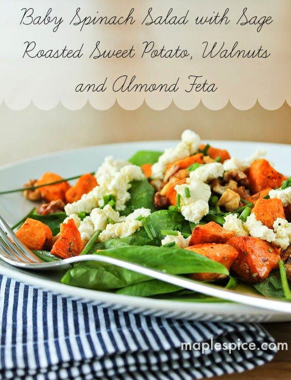 Baby Spinach Salad with Sage Roasted Sweet Potato, Walnuts and Almond Feta - Vegan, Gluten Free and Soy Free