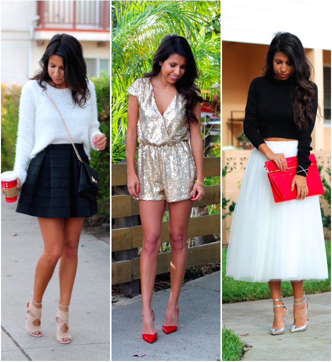 what to wear on Christmas, Holiday Style, Holiday Outfits, Pursuit of Shoes, Ballerina Skirt, Gold Romper
