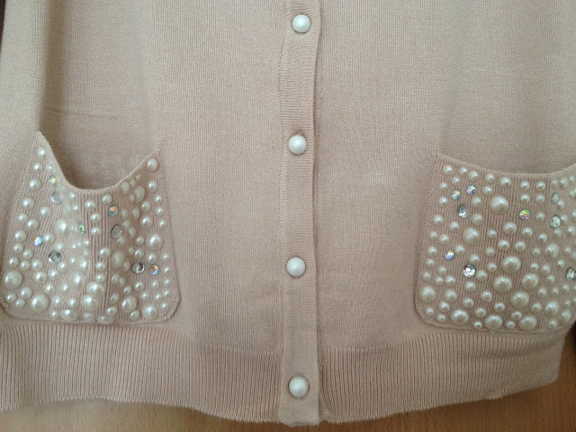 Pearl Beaded Pocket Nude Cardigan Primark