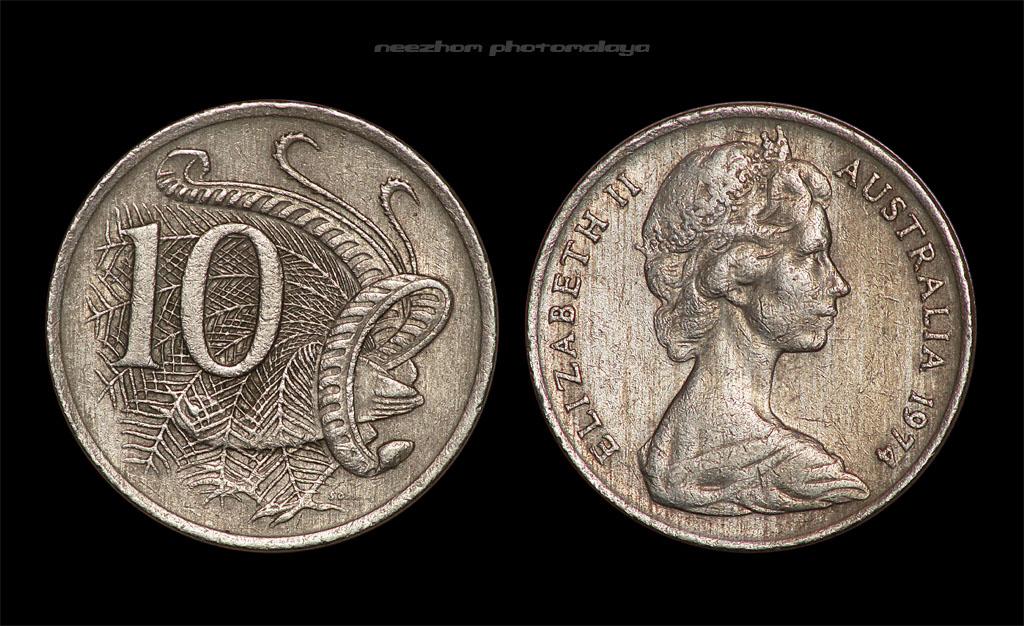 Koleksi duit syiling Australia 10 cents tahun 1974