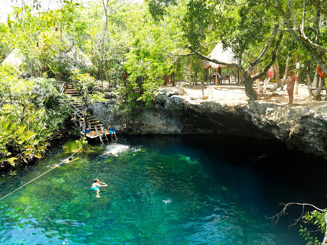 Clear blue lagoon in the jungle - Cenote Jardin del Eden, near Tulum, Mexico