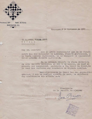 Carta sobre la fusión del Fomento Martinense y la Unión Ajedrez Martinense a Ángel Ribera en 1960