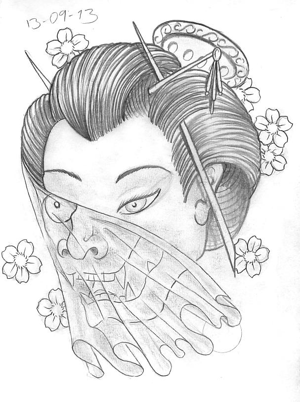 Day 256 Geisha With Veil And Hannya Mask Design