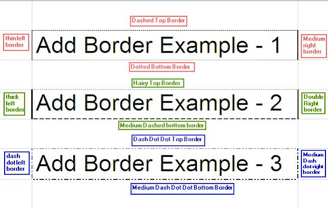 Add Different Border to Excel Cell - Java POI Example Program - Output