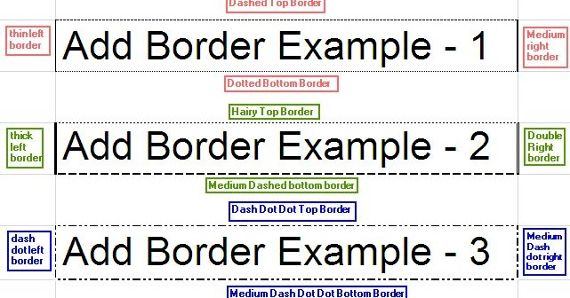 Add border to excel cell java poi example program for Html cell border