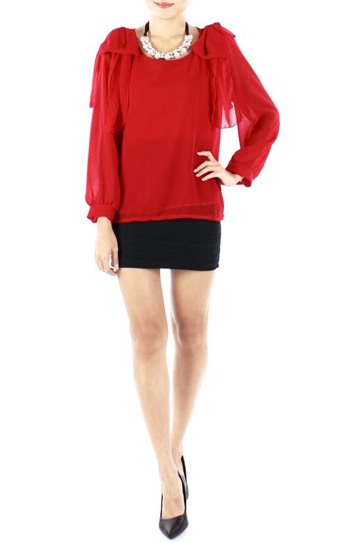 Crimson Mythical Ribbon Long Sleeve Blouse
