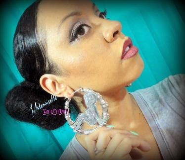 Laser Cut Afro Pinup Girl Bamboo Earrings- BAMBOO BABES! (Glitter Glam)