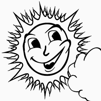 Nice hot weather sky happy summer coloring page sun art for kids and kindergarten drawing activities
