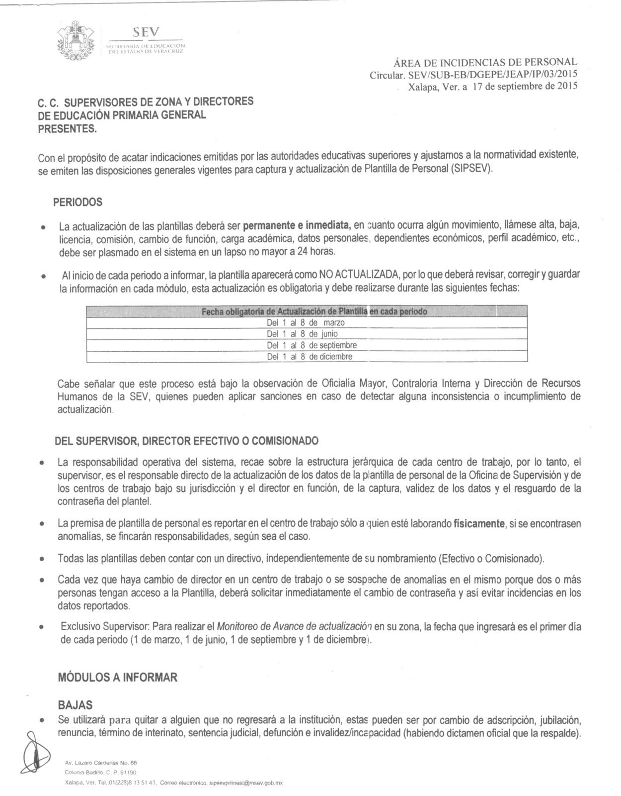 CIRCULAR PLANTILLA DE PERSONAL (SIPSEV) | ZONA 65 CÓRDOBA FORÁNEAS