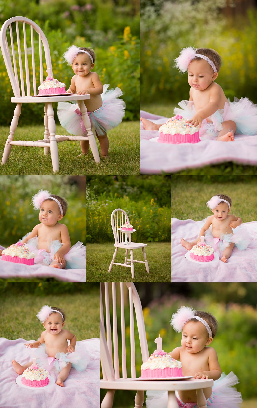 One year cake smash in Rockford IL at Midway Village, Pink tutu one year milestone session