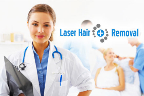 Female doctor removing the hair of the customer with laser machine.