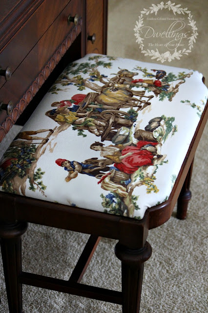 Guest Bedroom Vanity Stool Reupholstered with Kravet Guinevere Festival Toile