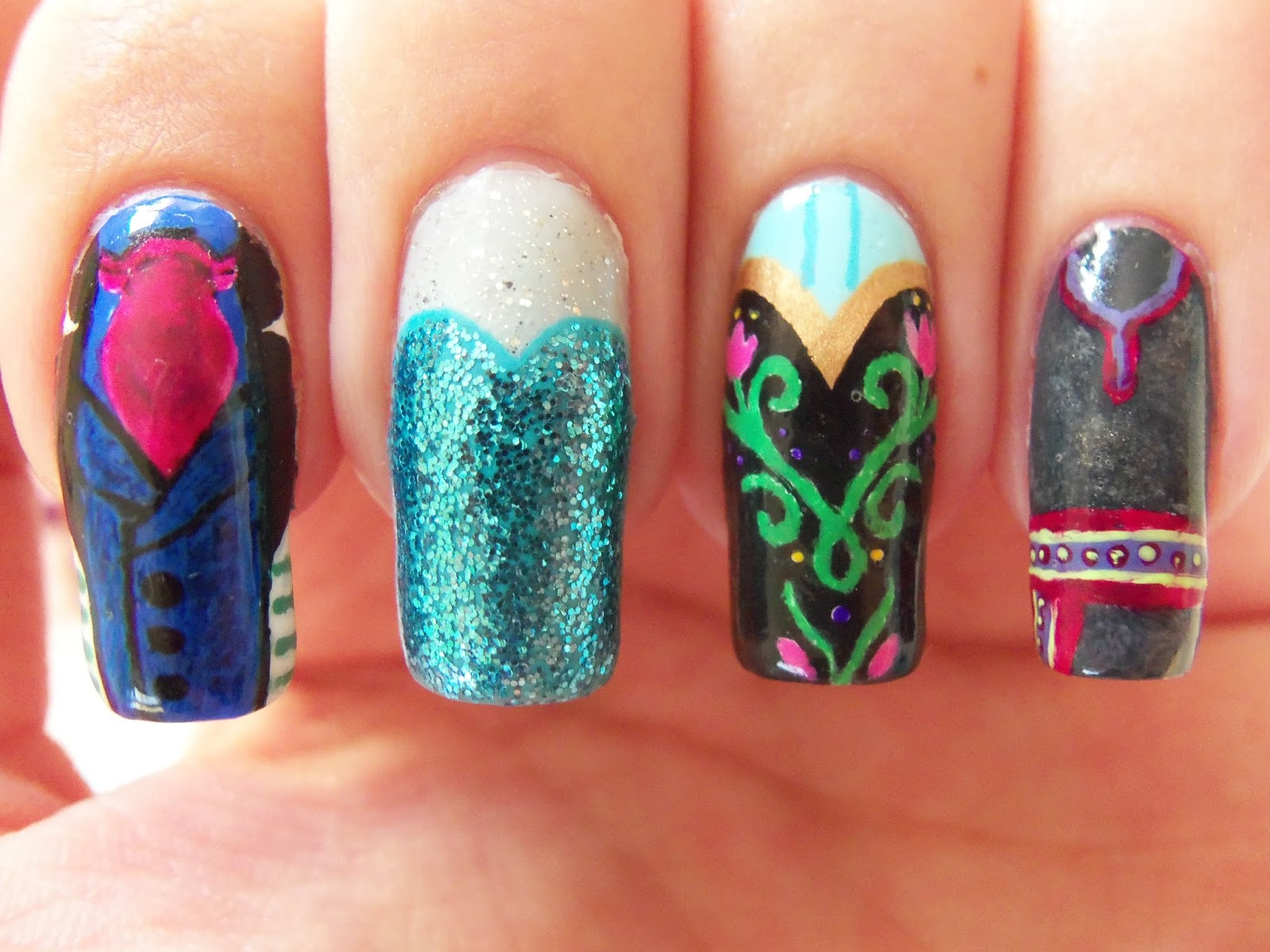Megs manicures disney nail art frozen prinsesfo Images