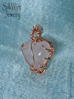 wire wrapped rose quartz pendant