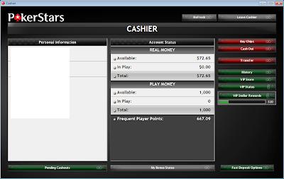 pokerstars cashier bankroll balance