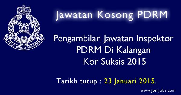 Jawatan Kosong Inspektor PDRM di Kalangan Kor Suksis 2015