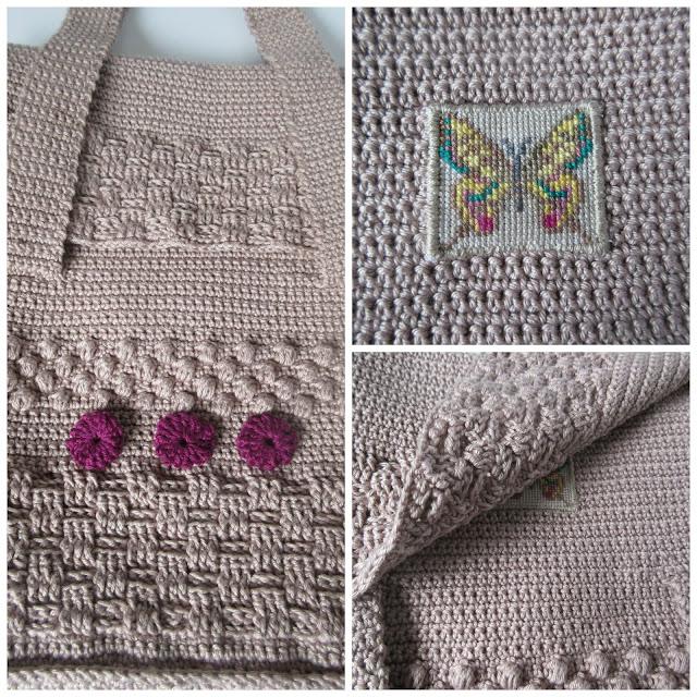 cross stitch detail under bag flap