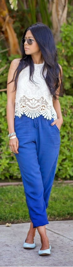 White Halter Lace top with Blue Pant | Chic Summer Outfits