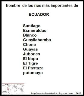 Nombre de los ríos más importantes de ECUADOR