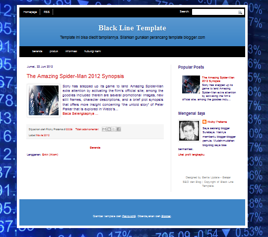 Template Blog SEO Friendly Black Line Editable (Bisa diedit) Edisi Spiderman