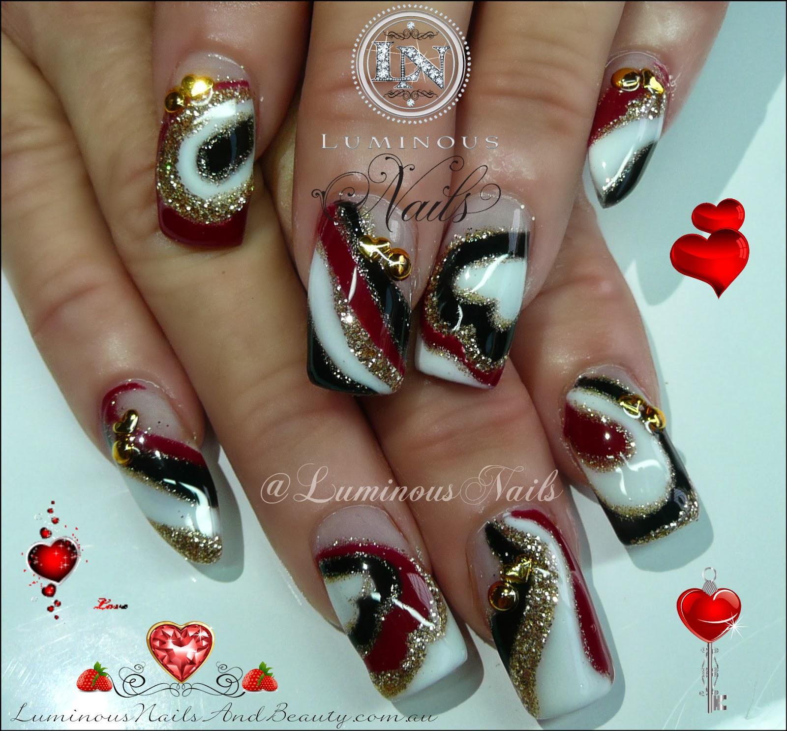 Black And White Valentines Nail Art ~ Nails by kayla shevonne rose ...