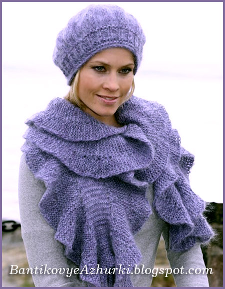 шарф и берет связанный спицами