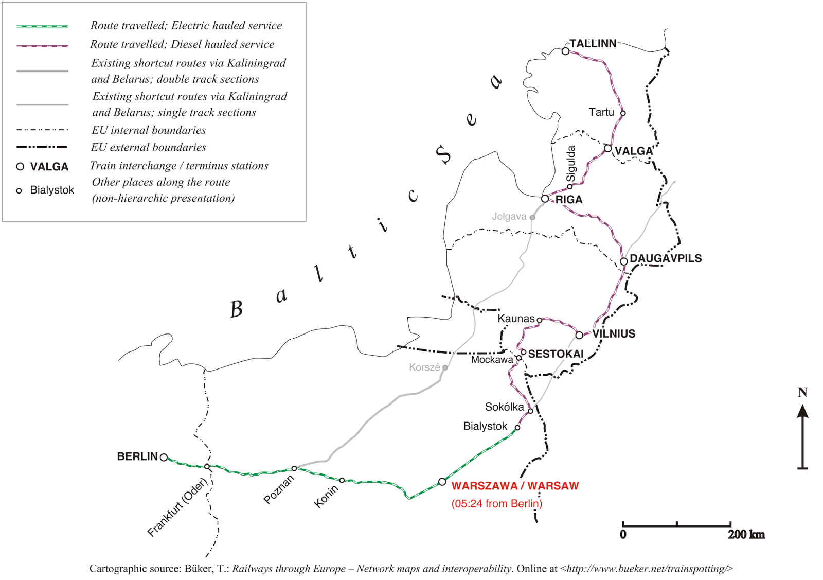 the current passenger rail connection between berlin and tallin shown on the map displaying also the travel time for the first leg berlin warsaw