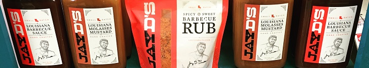 Get your Jay D's Louisiana Barbecue Sauce, Molasses Mustard and Spicy & Sweet BBQ Rub!