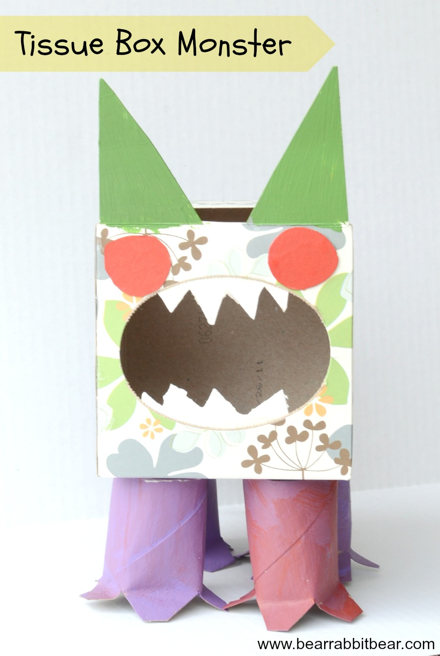 Tissue Box Germ Monster Recycled Craft