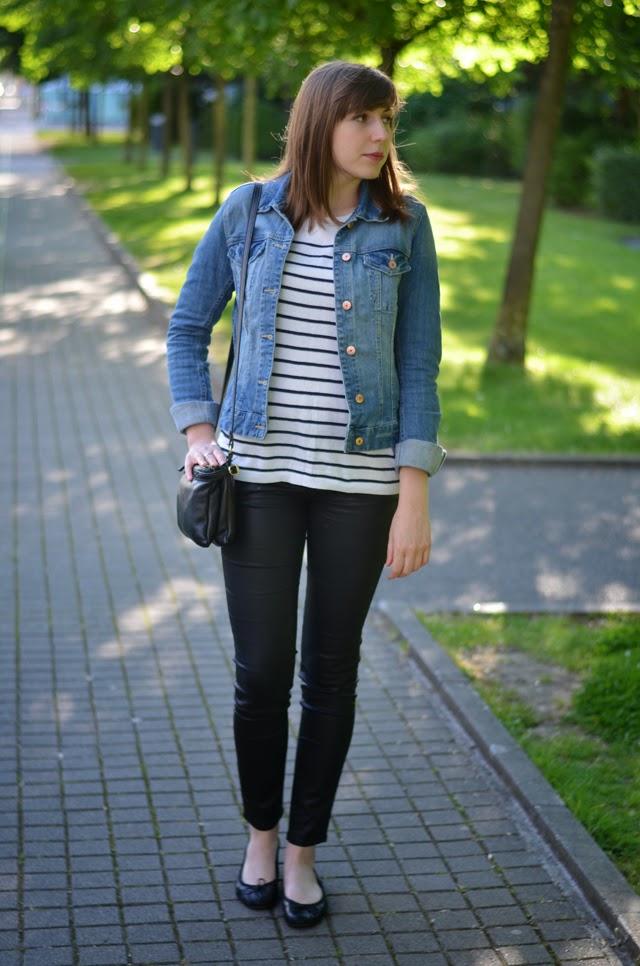 look veste en jean marinière slim simili cuir