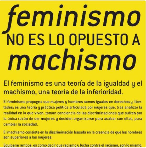 FEMINISMO NO ES LO CONTRARIO A MACHISMO