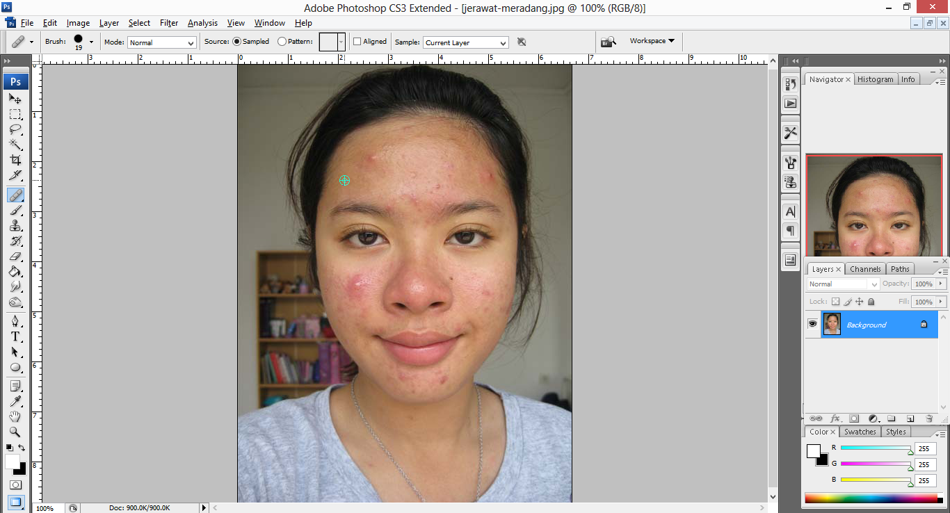 pic cara belajar how to create tutorial photoshop pemula membuat retouch wajah menghilangkan jerawat menghaluskan wajah kulit 3