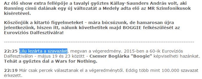 A Dal 2015, tévés baki, online, Tatár Csilla, Lilu
