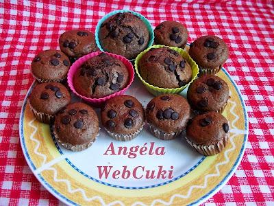 Kakaós muffin meggyel töltve, rumaromával és fahéjjal ízesített sütemény, étcsokoládécseppekkel megszórva.