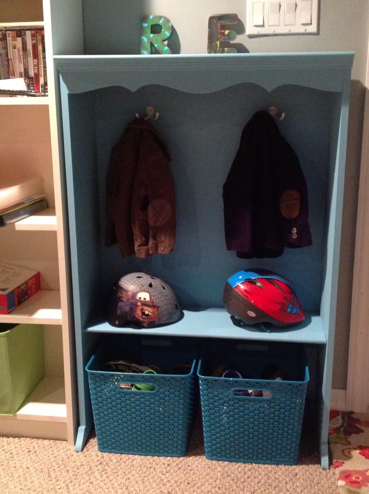 Real house life kids coat rack made from 10 bookshelf Kids coat rack