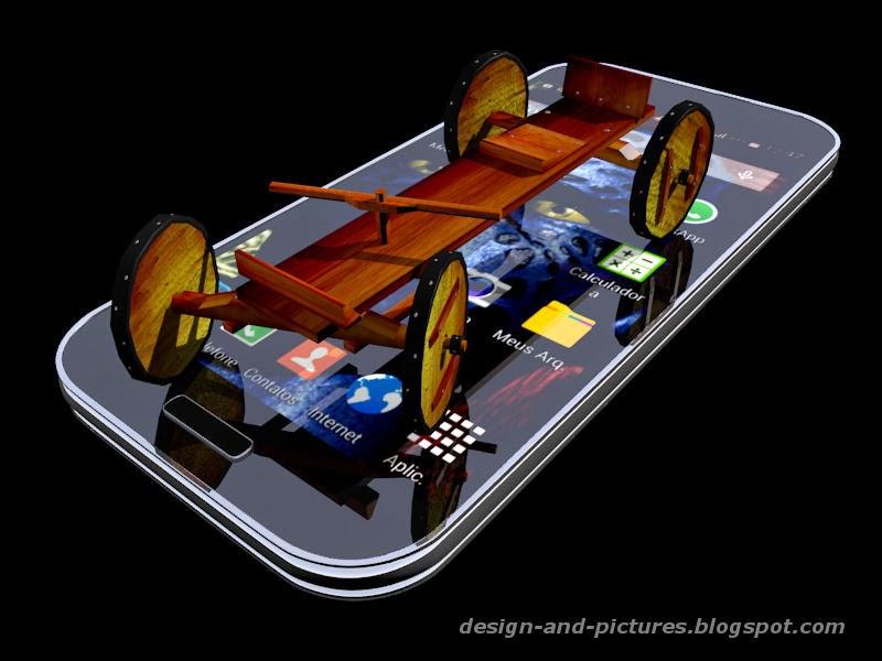 Carrinho artesanal sobre um celular