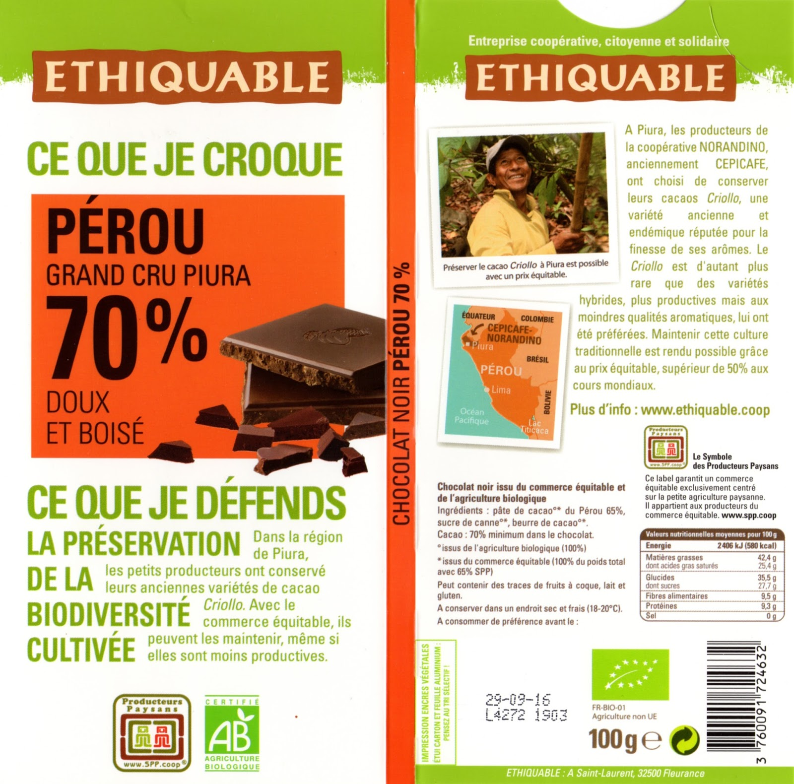 tablette de chocolat noir dégustation ethiquable pérou grand cru piura 70