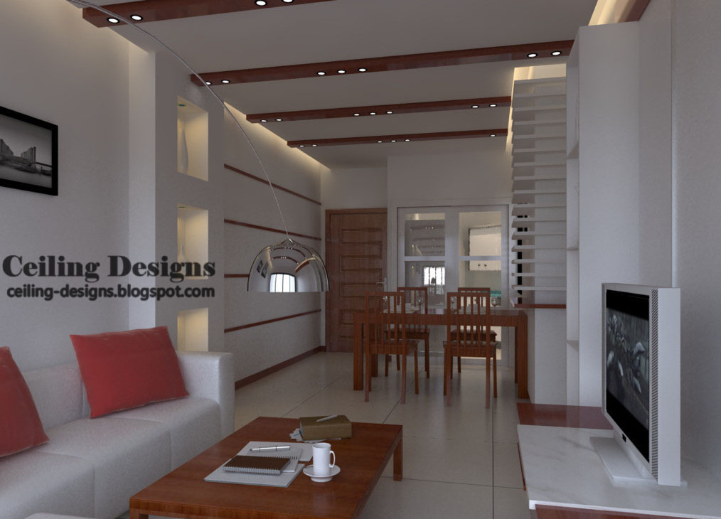 drop ceiling design for living room with wooden decorations