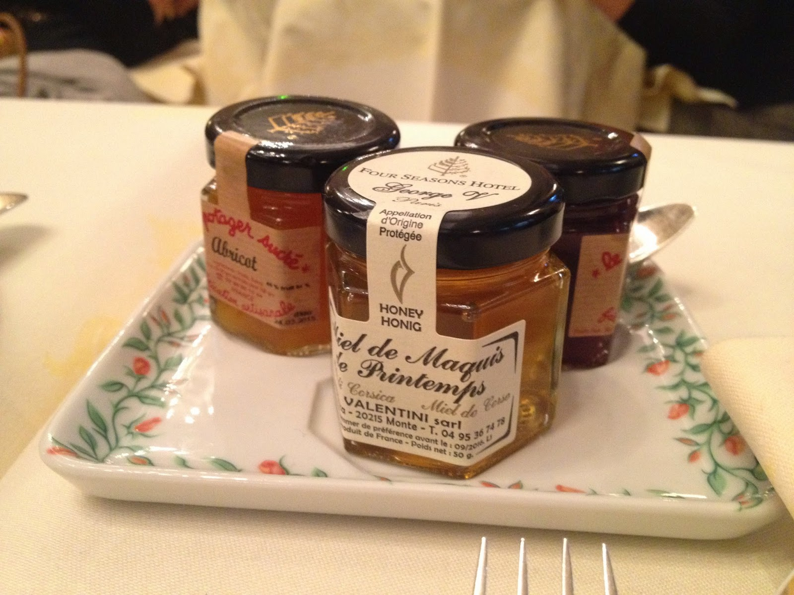 Jams and honey at La Galerie, Four Seasons Hotel George V, Paris