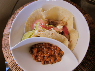 Chicken Tacos with Onions and Beans